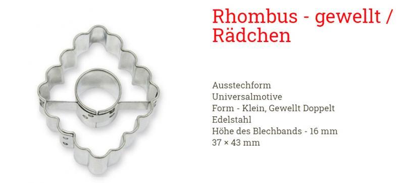 Ausstecher Rhombus - gewellt 37x43mm