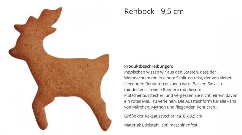 Ausstecher Hirsch Rehbock 9,5cm