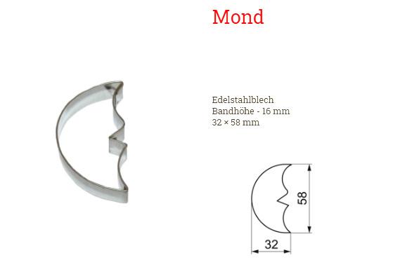 Ausstecher Mond 32x58mm